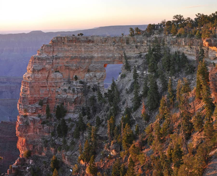 Grand Canyon National Park: North Rim Sunrise on Angel's Window.